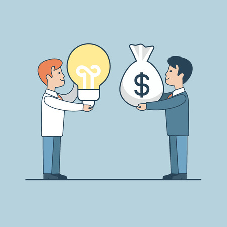 investor: Linear Flat Investor offering profit for Idea vector illustration. Money bag, lamp and businessmen characters. Business investments concept.