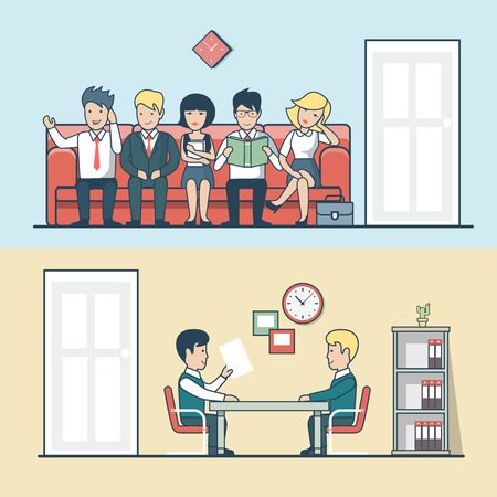 Linear Flat HR manager talks with man, candidate line vector illustration set. Interview, Business professionals concept.