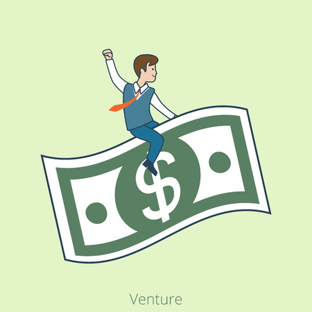 venture: Linear Flat Businessmen riding dollar banknote vector illustration. Venture business concept. Illustration