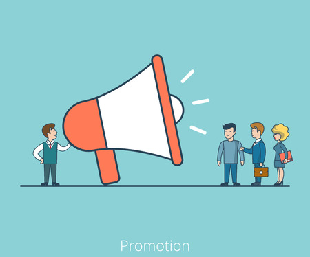 introduce: Linear Flat Speech of Promoter with huge speaker phone to Businesspeople vector illustration. Business promotion concept.