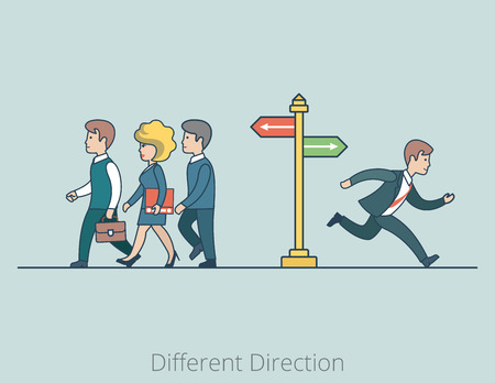 Linear Flat Businesspeople moving in Different Directions, man running at the fork vector illustration. Variation of business investments and diversification concept.