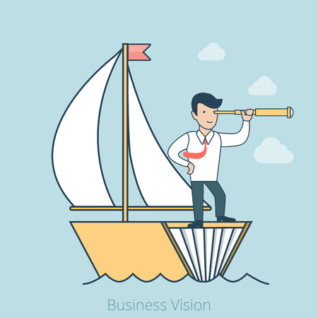 knowledge business: Linear Flat Student or Businessman on book-made ship captain with spyglass vector illustration. Business vision, idea driven business future forecast,knowledge and education, career concept. Illustration