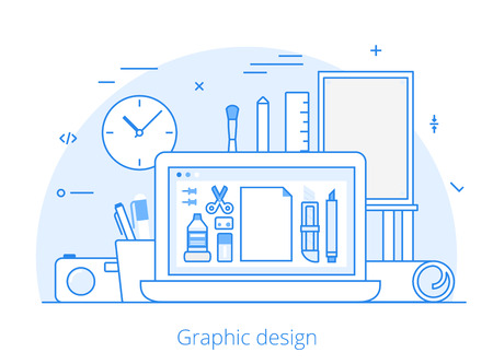 digitizer: Lineart Flat graphic design website hero image vector illustration. Digital art tools and technology concept. Laptop, digitizer, ruler, camera, graphics editing software interface.