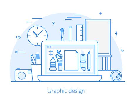 digitizer: Lineart Flat graphic design website hero image vector illustration. Digital art tools and technology concept. Laptop, digitizer, ruler, camera, graphics editing software interface.