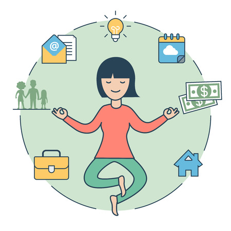 levitate: Linear Flat Woman levitate in Zen pose and lamp, house, family silhouette money in circle around vector illustration. Human Values concept.