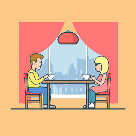lunch room: Linear Flat Man and woman at the table in diner room, drinking tea vector illustration. Happy family life, romantic date concept.