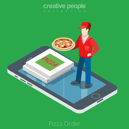 Flat isometric Pizza boy and boxes on smartphone vector illustration. 3d isometry online mobile ordering and delivery app concept. Illustration