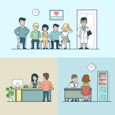 lag: Linear Flat clinic interior with furniture, doctor and patients with broken lag, hand and headache vector illustration set. Health care, professional help, healthy lifestyle concept.