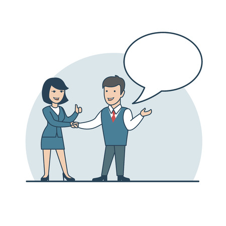business agreement: Linear Flat Businessman and businesswoman handshake, thumbs up, making deal vector illustration. Business agreement concept. Empty chat bubble to place your text.