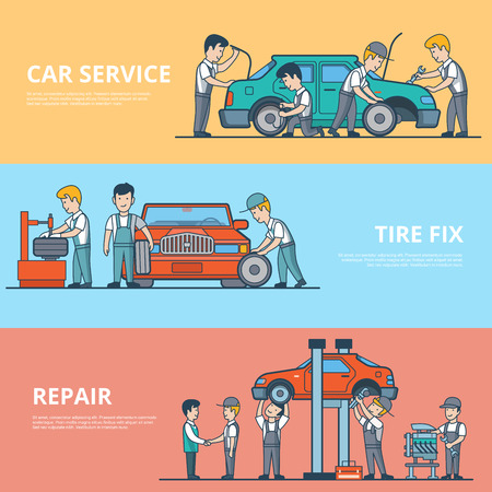motor car: Linear Flat Technical car diagnostic, dismantling and repair service concepts set of website hero images. Tire fix, motor and battery test vector illustration. Mechanic workers happy client characters