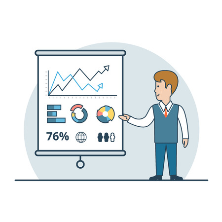 business analysis: Linear Flat Businessman shows report, presentation vector illustration. Financial Business Analysis, Audit, Planing concept. Illustration