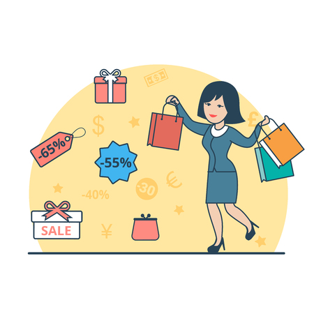 sopping: Linear Flat Happy woman with purchase bags, present boxes and discount labels around vector illustration. Sopping concept.