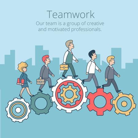 동 기적으로 톱니 바퀴 벡터 일러스트 레이 션을 걷고 선형 평면 소수입니다. 비즈니스 기업 회사 전문 팀 작업 개념입니다.