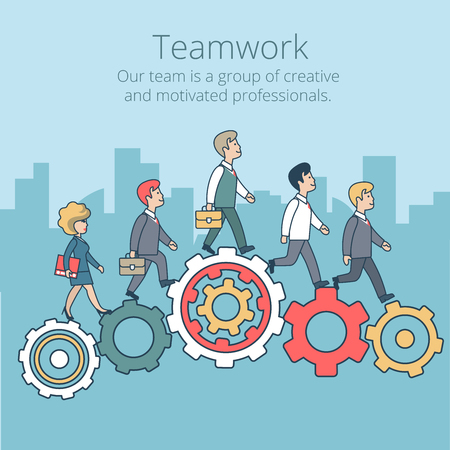 Linear Flat Businesspeople synchronously walking gearwheels vector illustration. Business corporate company professional team work concept.