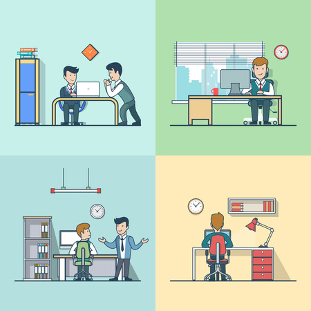 Linear Flat Office rooms with furniture and business situations vector illustration set. Working man, talking fellows, happy manager characters. Office life concept.
