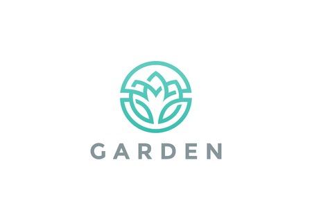 Flower Logo circle abstract design vector template. Lotus SPA icon. Cosmetics Hotel Garden Beauty salon Logotype concept Illustration
