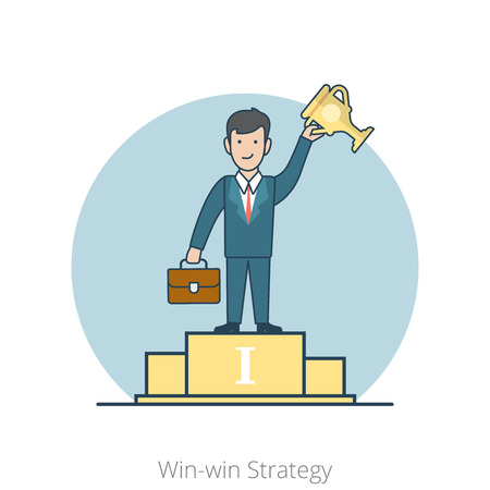 happy business man: Linear Flat Happy man stands on pedestal with cup vector illustration. Winner of competition. Win-win Business Strategy concept.