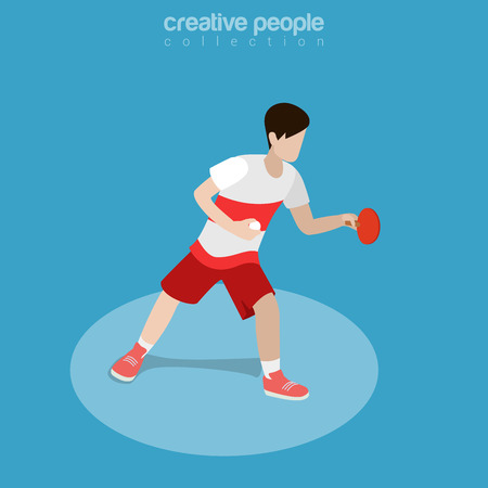 Flat isometric Ping Pong Athlete vector illustration. Table Tennis sportsman 3d isometry image. Summer Olympic games concept.