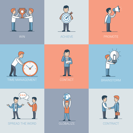 spread the word: Linear Flat Business people and object situations vector illustration. Business marketing promotion concept. Win, achieve, promote, time management, contact, handshake, brainstorming, spread the word.