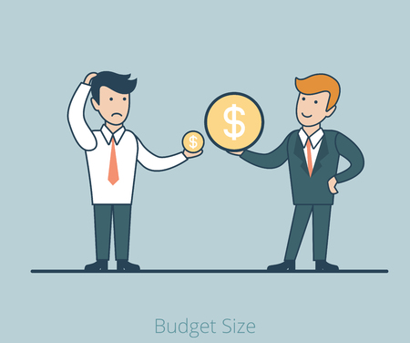 boast: Linear Flat Two businessmen measuring money (income or investments) vector illustration. Budget size contrast in business concept.