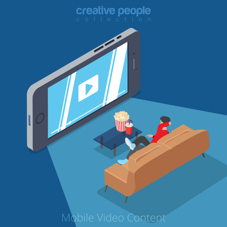 Flat isometric man viewing video on big smartphone screen vector illustration. 3d isometry mobile video content view at home cinema concept.