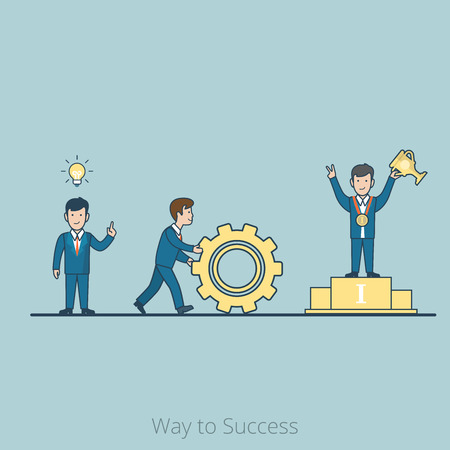 cogwheel: Linear Flat Businessman with lamp over head, rolling cogwheel, with trophy cup on pedestal vector illustration. Step by step from idea to profit, Way to Success business concept.