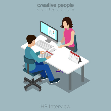 Flat isometric Job Interview in office vector illustration. HR manager talks with female candidate and looking opened digital resume. 3d isometry business concept.
