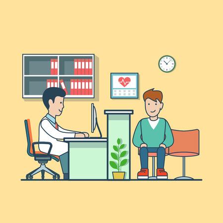 exam: Linear Flat Man visiting doctor vector illustration. Cardiologist office interior image. Healthy team, compulsory medical examination concept.