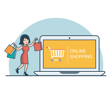 online purchase: Linear Flat Happy woman with purchase bags near huge laptop vector illustration. Online Shopping concept.