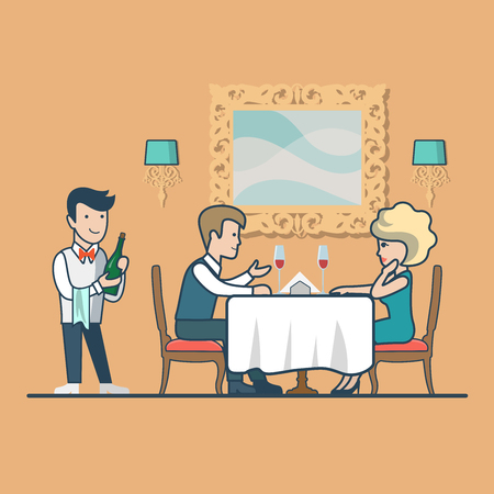 family man: Linear Flat Couple drinking wine sitting in restaurant, anniversary celebration vector illustration. Waiter with bottle in hand, man, woman characters. Happy family life concept.