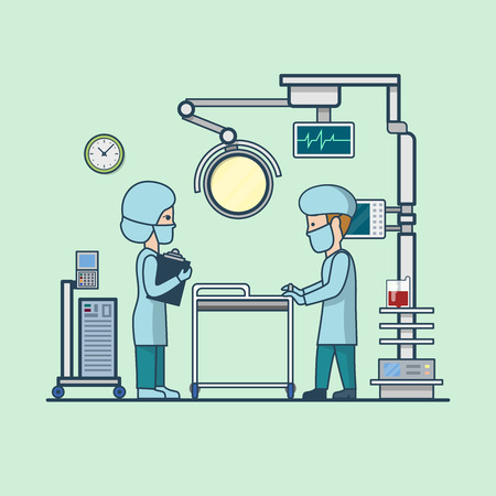 professional equipment: Linear Flat operating room interior with furniture and medical equipment, doctor and nurse preparing to operation vector illustration. Health care, professional help concept. Illustration