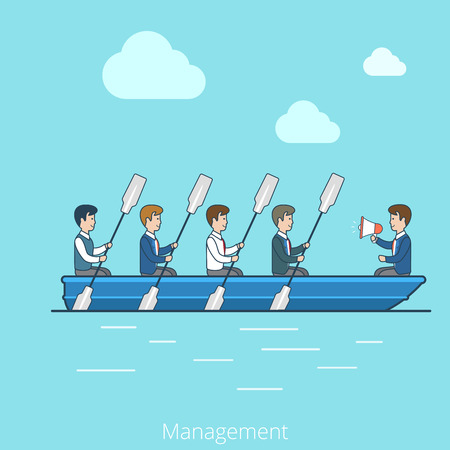 Linear Flat Businessmen workers rowing oars in boat and manager with megaphone vector illustration. Team Management Business concept