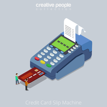 Flat isometric Micro people push credit card into POS terminal vector illustration. 3d Slip machine, printed receipt image. Online money transfer service isometry concept.