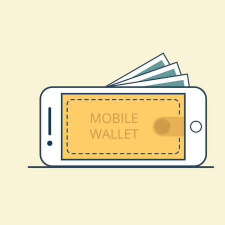 valet: Linear Flat Smartphone with banknotes and Valet on Mobile screen vector illustration. Comfortable money transfer service concept. Illustration
