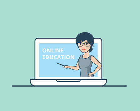 online education: Linear Flat Teacher or couch in huge laptop vector illustration. Online Education, Business training concept.