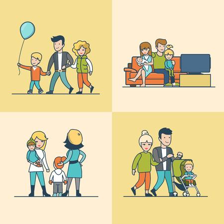 Lineal plana familia viendo la televisión en el sofá, caminar al aire libre con balón o el bebé en cochecito de niño ilustración vectorial conjunto. concepto de la paternidad vida casual.