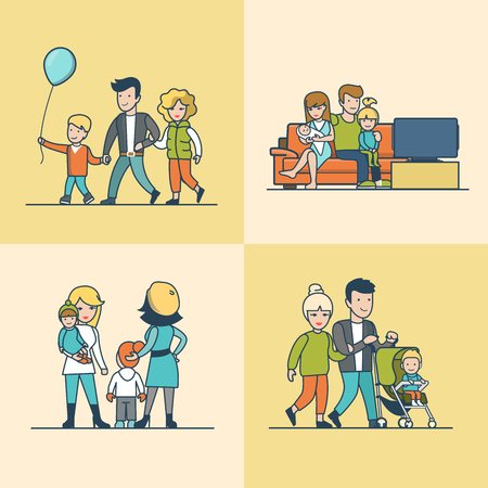 parenting: Linear Flat Family watching TV on couch, walking outdoors with balloon or baby in pram vector illustration set. Casual life parenting concept. Illustration