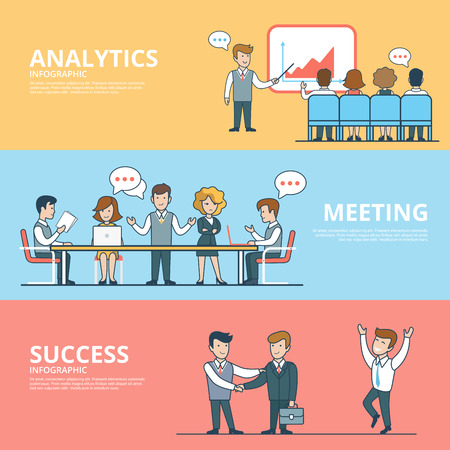 Linear Flat success in business, analytic report, meeting room brainstorming concepts set of website hero images. Presentation, Business team around table, Handshake vector illustration.