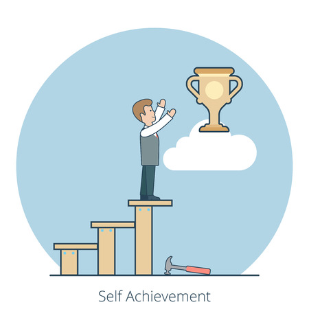 owning: Linear Flat Businessman building stairs to reach the cup trophy on cloud vector illustration. Self Achievement, Successful business concept.
