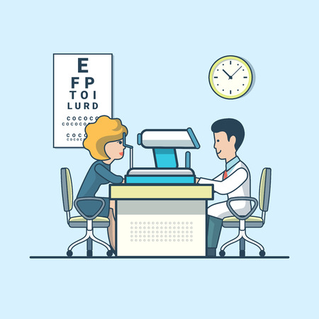 compulsory: Linear Flat Businesswoman visiting doctor vector illustration. Ophthalmologist office interior image. Healthy team, compulsory medical examination concept.