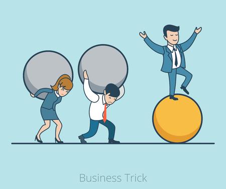 workmanship: Linear Flat Businessman balancing on ball, man and woman drag on their self heavy balls vector illustration. Business Trick concept.
