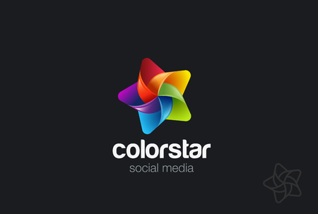 Colorful Star Logo design vector template.  Creative social leader award Logotype concept icon Ilustração