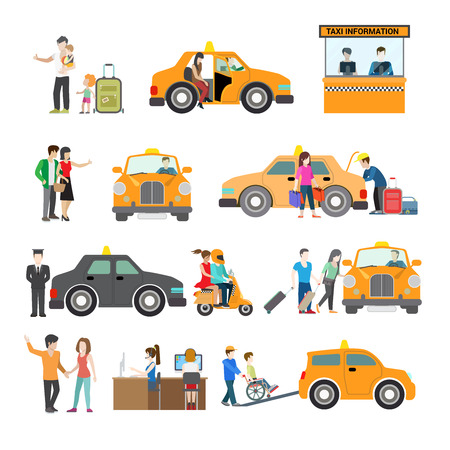 passenger transportation: Flat Modern families catching cab, service for people with disabilities, taxi information and call centre vector illustration set. City Passenger Transportation concept. Illustration