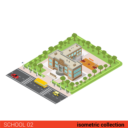 isometry: Flat isometric school building, basketball outdoor arena vector illustration. Municipal educational facilities. Modern city architecture infographic 3d isometry concept.