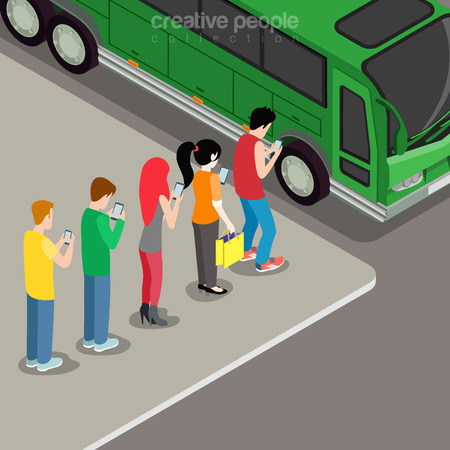 smartphone: Flat isometric Young people queued on the bus stare on Smartphone screens in hands vector illustration. Social networks addiction 3d isometry concept.