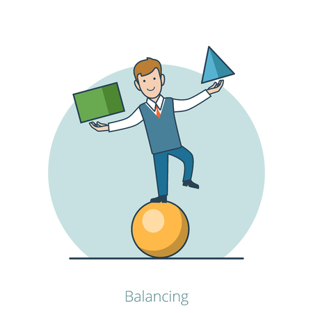 smily: Linear Flat Businessman Balancing on ball with geometric figures (triangle and cube) vector illustration. Business Trick concept.