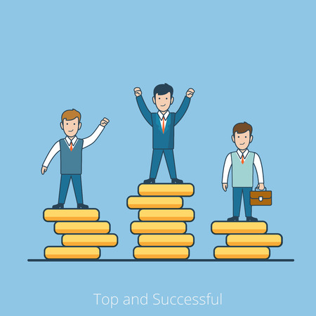 coin stack: Linear Flat happy Businessmen on Top of coin stack pile pedestal vector illustration. Market competition winner. Successful business concept.