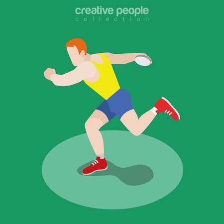 lanzamiento de disco: Flat isometric Athletic Discus Throw vector illustration. Sportsman (athlete) throwing disc 3d isometry image. Summer Olympic games concept.