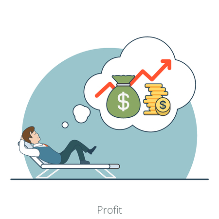Linear Flat Investor dream about profit lying on recliner vector illustration. Money bag, coins and businessman characters. Business investments concept.