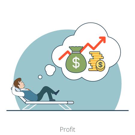 Linear Wohnung Investor träumen Gewinn liegend auf Liege Vektor-Illustration. Geldbeutel, Münzen und Geschäftsmann Zeichen. Business-Investitionen Konzept.